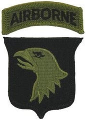 101st AIRBORNE DIVISION ARMY MILITARY PATCH & TAB OD GREEN