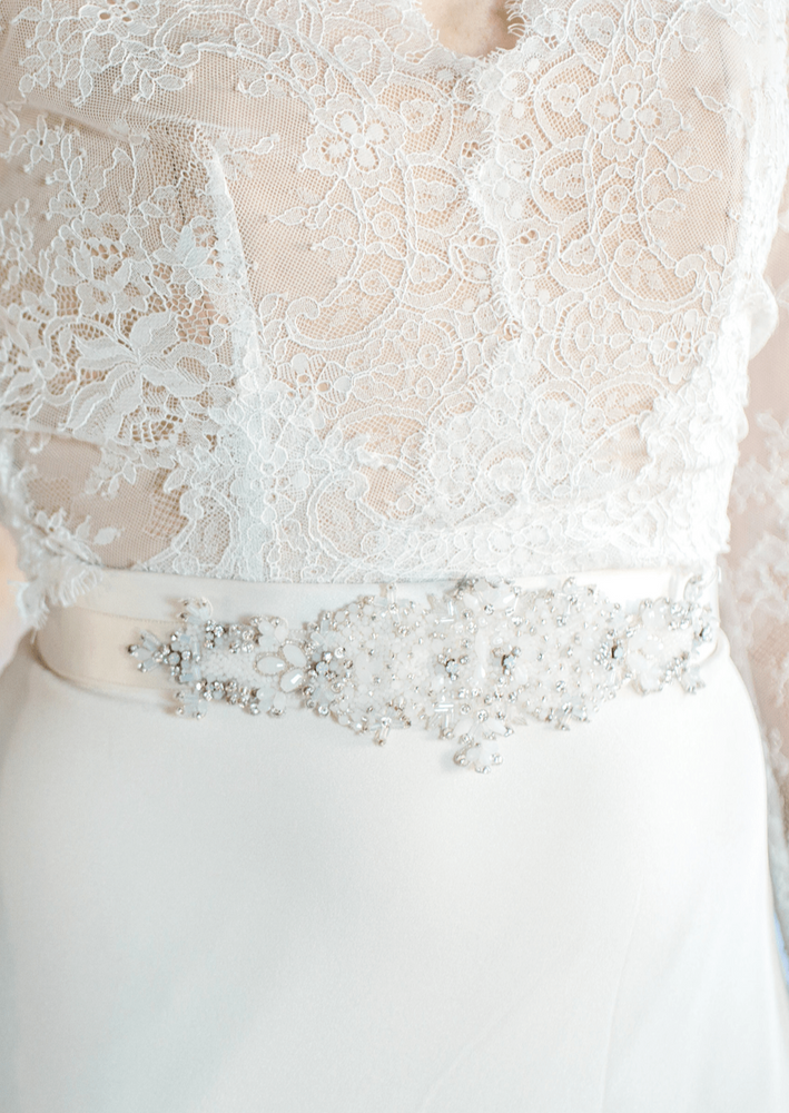 white bridal belt
