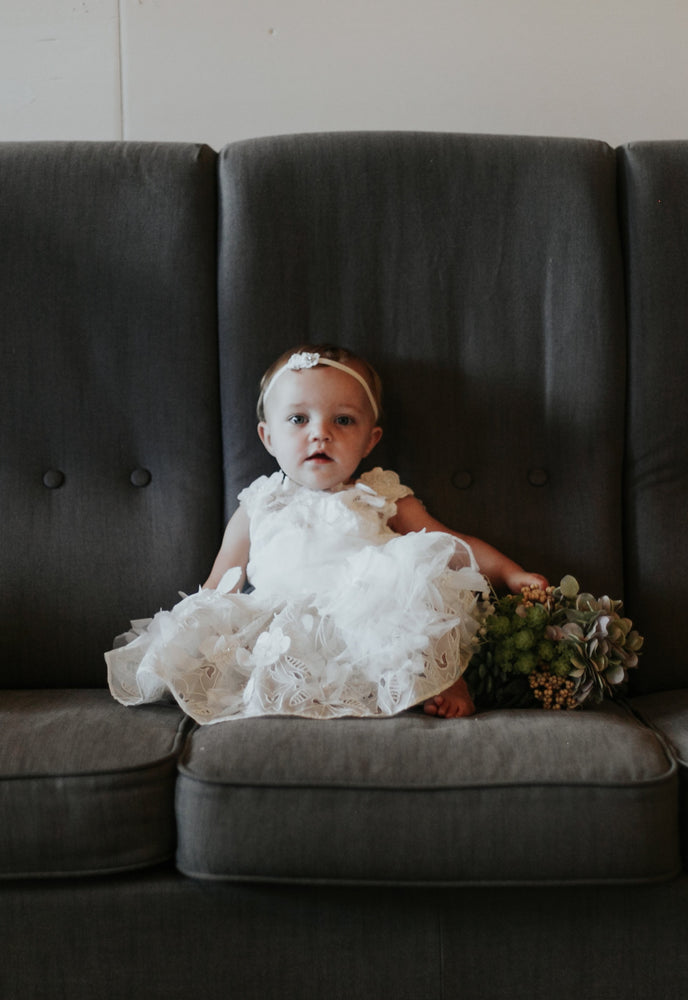 ivory floral flower girl dress