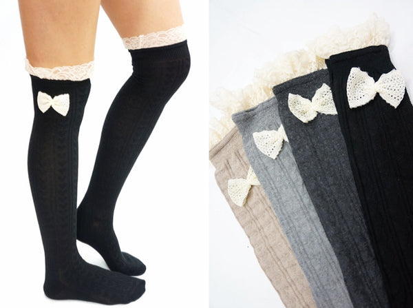 Lace Bow Hear Pattern Over Knee Socks