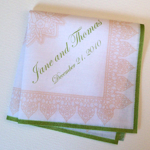 Printed lace with medallion personalized wedding handkerchief