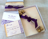 Fairytale wedding invitation scroll suite, damask scroll on fabric