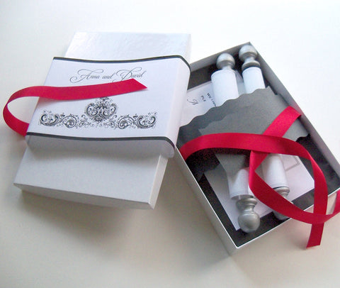 Black and white wedding invitation scroll suite, fabric scroll with red and silver