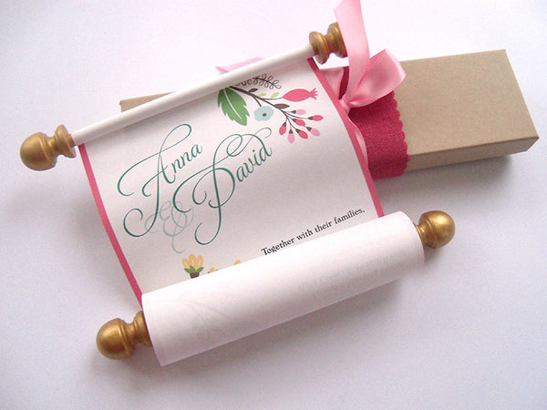 Modern flowers wedding invitation scroll in coral pink and gold, boxed