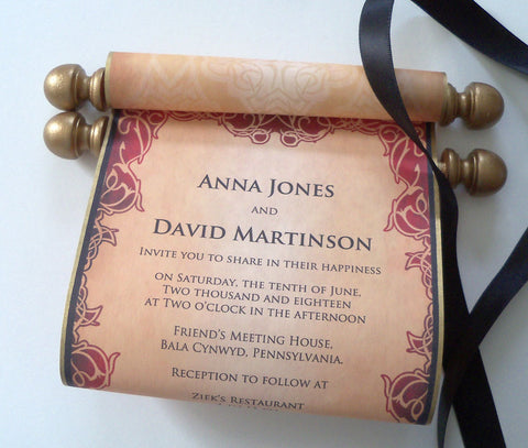 Royal throne wedding invitation scrolls, medieval wedding, gold and black invitations, set of 10