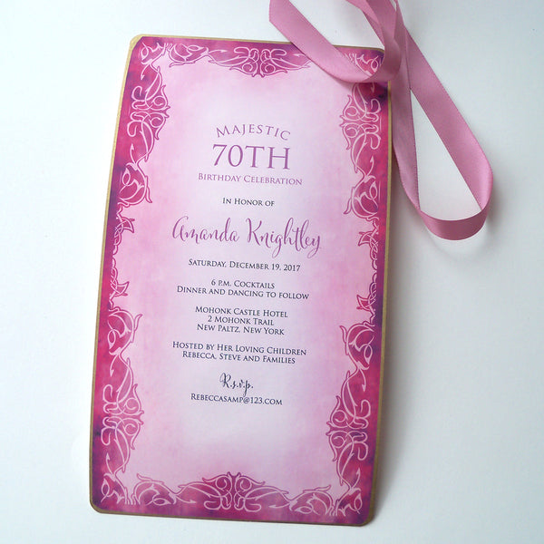 70th Birthday invitation roll up scroll in magenta, set of 10