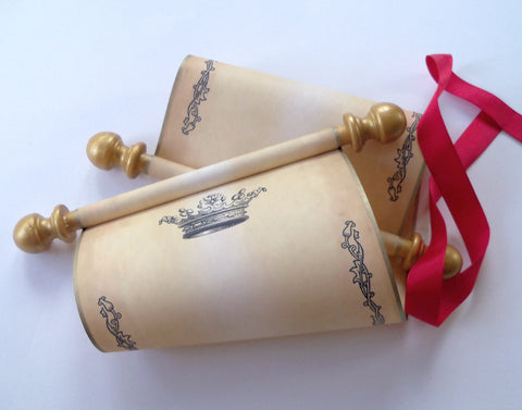 "Blank aged parchment paper scroll with princess crown and floral border, handwritten letter or invitation for a princess, 5x12"" paper"