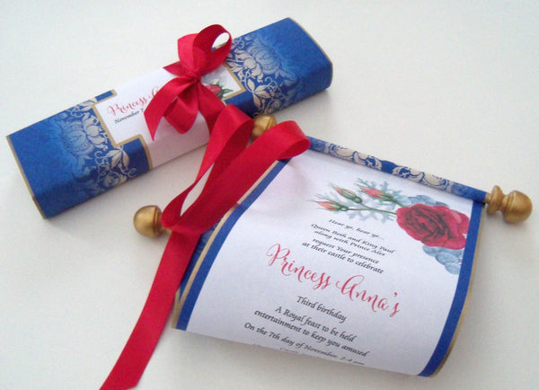 Beauty and the beast fairy tale birthday invitation scrolls with presentation box and customized wrapper