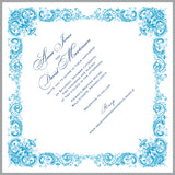 Elegant wedding invitations on handkerchief, floral damask in blue and silver, set of 10