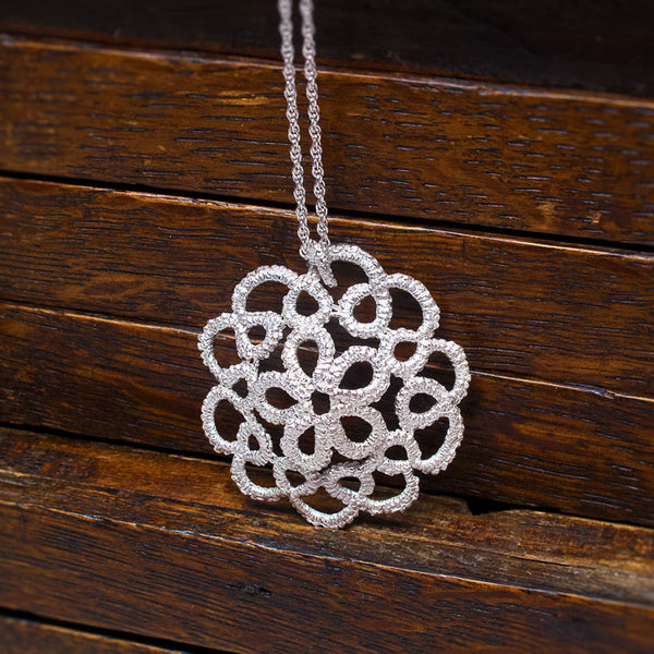 delicate lace sterling silver necklace