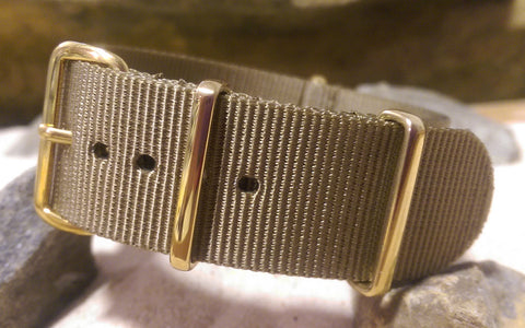 The Berenger Ballistic Nylon Strap w/ Gold Hardware (Stitched) 20mm