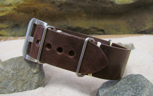 The Dark Brown Genuine Italian Leather Ballistic Strap w/ Brushed Pre-V Buckle Hardware (Stitched) 24mm