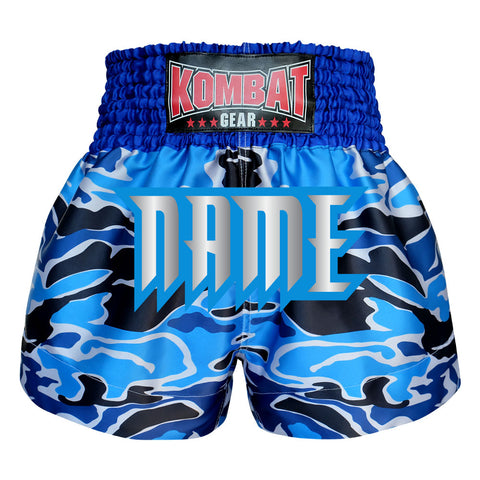 Custom Kombat Gear Muay Thai Boxing shorts Blue Camouflage
