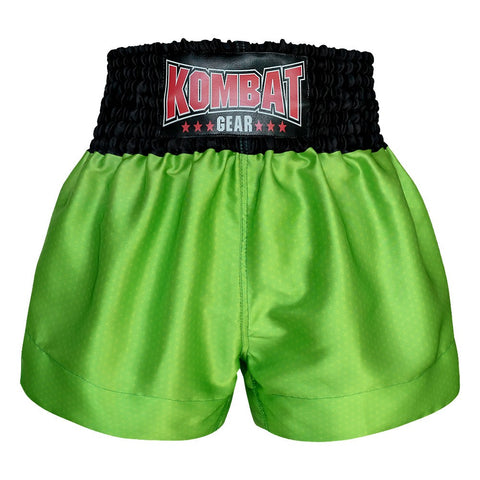 Kombat Gear Muay Thai Boxing shorts Star Pattern Green Black Waist