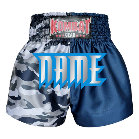 Custom Kombat Gear Muay Thai Boxing shorts Grey Camouflage Navy Blue Start Pattern