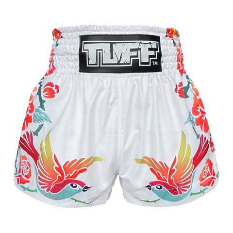 TUFF Muay Thai Boxing Shorts White Birds And Roses Inspired by Ancient Drawing