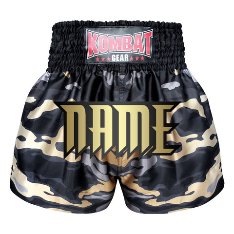 Custom Kombat Gear Muay Thai Boxing shorts Grey Camouflage