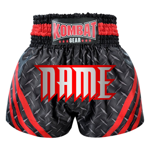 Custom Kombat Gear Muay Thai Boxing shorts Black Steel With Red Strips