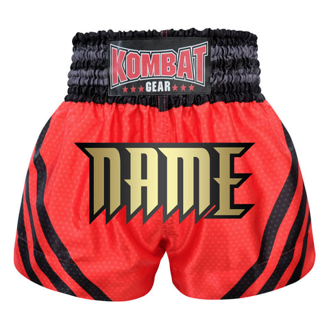 Custom Kombat Gear Muay Thai Boxing shorts Red Star Pattern With Black Strips