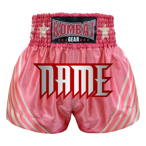 Custom Kombat Gear Muay Thai Boxing shorts Pink Star Pattern With White Pink Strips