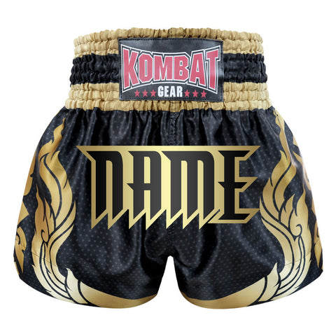 Custom Kombat Gear Muay Thai Boxing shorts Black Star Pattern With Gold Thai Tattoo
