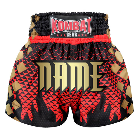 Custom Kombat Gear Muay Thai Boxing shorts Black Triangles Gradient Red With Black Star Fire Frame