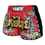 TUFF Muay Thai Boxing Shorts Red Retro Style Double Tiger With Gold Text