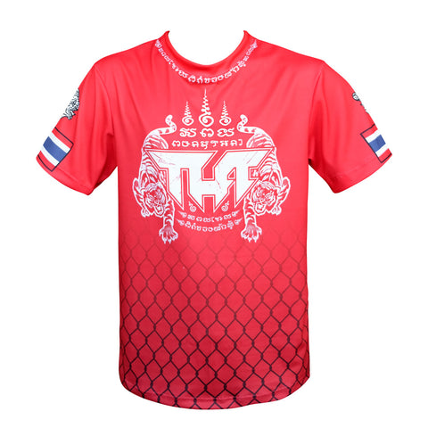 TUFF Muay Thai Shirt True Power Double Tiger Red