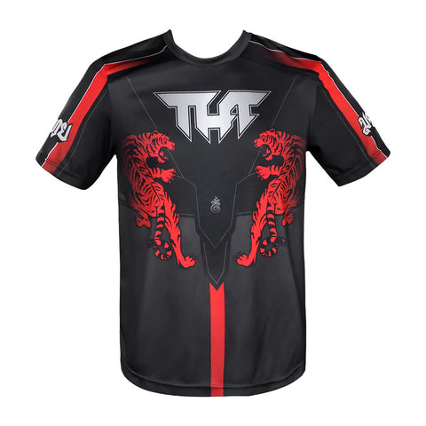 TUFF Black Shirt Double Tiger With Thai Forest Creatures