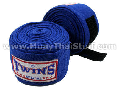 Twins Special Muay Thai Hand Wraps Solid Blue CH1