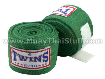 Twins Special Muay Thai Hand Wraps Solid Green CH1
