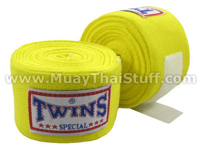 Twins Special Muay Thai Hand Wraps Solid Yellow CH1