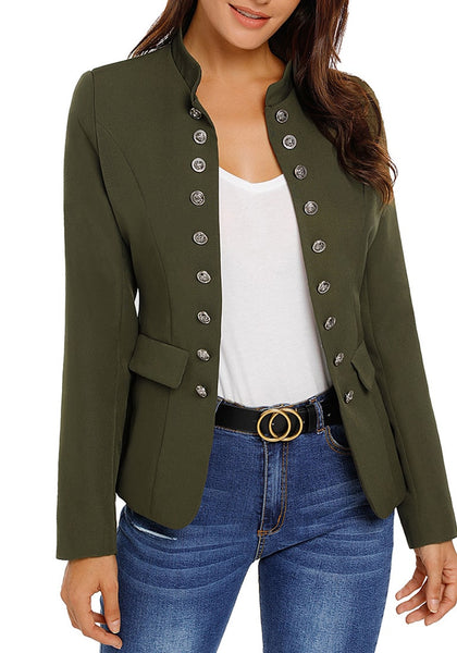 Angled shot of model wearing army green stand collar open-front blazer