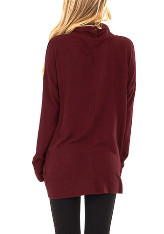 Burgundy Cowl Neck Side Twist Knot Tunic Top