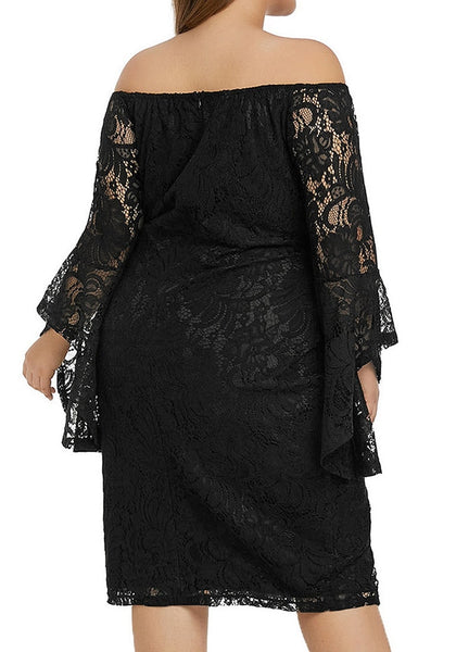 Back view of model wearing plus size black trumpet sleeves lace off-shoulder pencil dress
