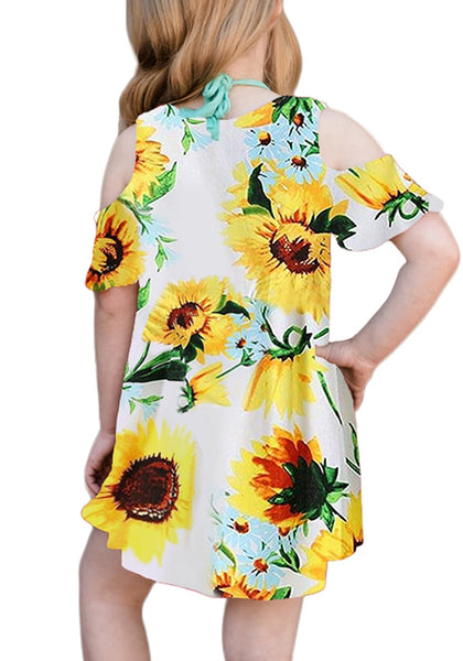 Back view of model wearing yellow cold-shoulder floral short sleeves girl tunic dress