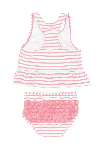 Pink Bow-Front Striped Ruffle Two-Piece Baby Swimsuit