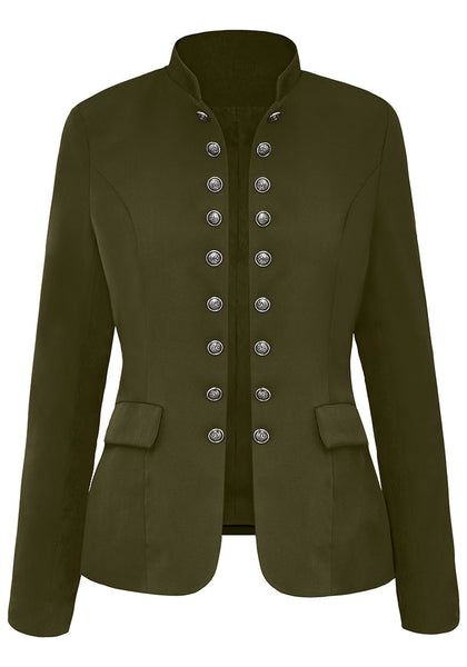 Front view of army green stand collar open-front blazer's 3D image