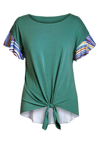 Front view of green short sleeves tie-front blouse's 3D image