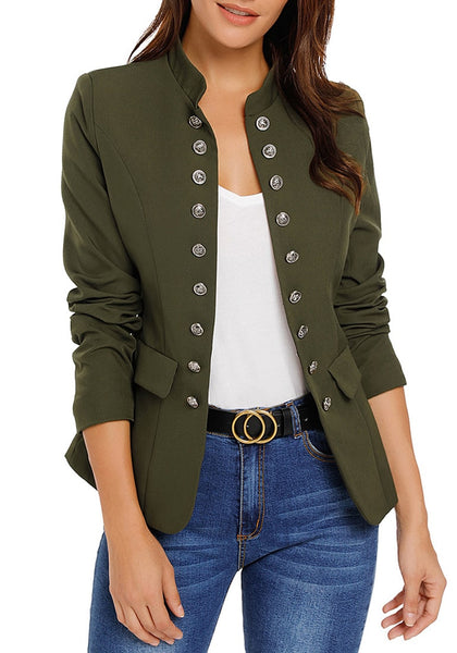 Front view of model wearing army green stand collar open-front blazer