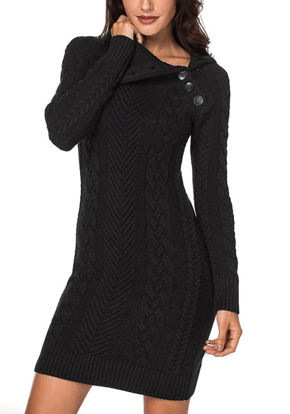 Front view of model wearing black cable knit split cowl neck sweater dress