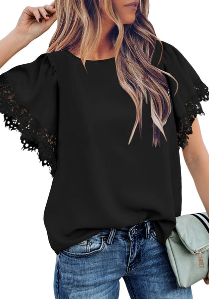 Front view of model wearing black flutter sleeves lace trim loose blouse