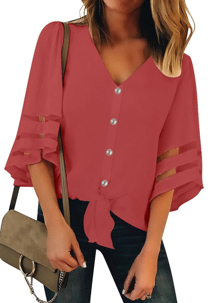 Front view of model wearing coral pink 34 bell mesh panel sleeves tie-front button-up loose top