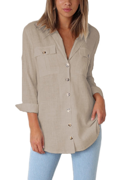 Front view of model wearing khaki long cuffed sleeves lapel button-up blouse
