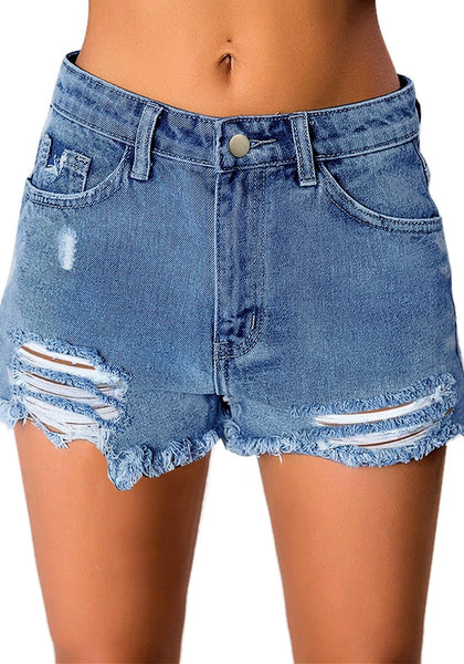 Front view of model wearing light blue mid-waist raw hem distressed denim shorts