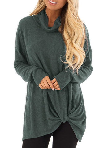 Olive Green Cowl Neck Side Twist Knot Tunic Top