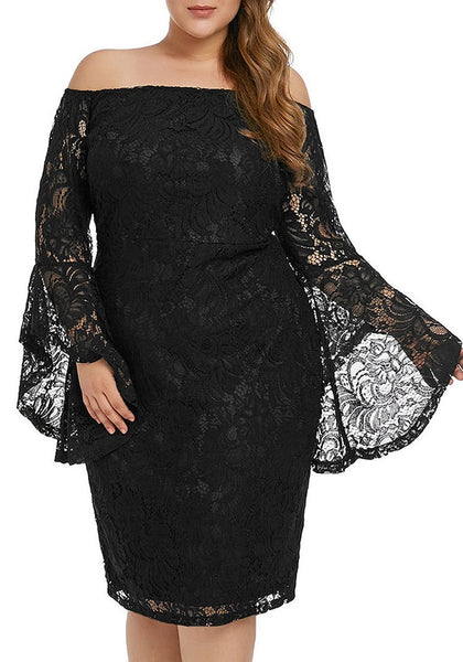 Front view of model wearing plus size black trumpet sleeves lace off-shoulder pencil dress
