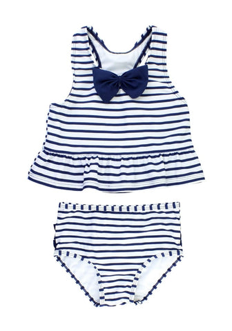 Navy Bow-Front Striped Ruffle Two-Piece Baby Swimsuit