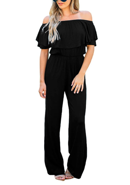 Front view of pretty model wearing black ruffled off-shoulder jumpsuit