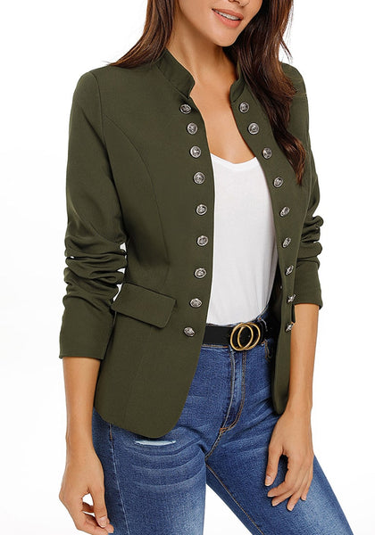 Model poses wearing army green stand collar open-front blazer